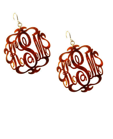 Script Acrylic Monogram Earrings Moon And Lola