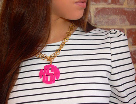 Acrylic Block Monogram Necklace   Moon And Lola