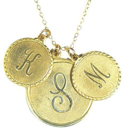 Vintage Initial Charm Necklace - 2 small and 1 medium