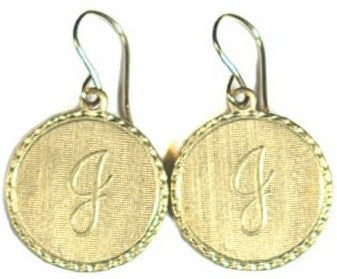 Small Vintage Initial Charm Earrings