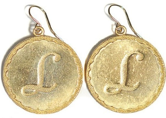 Large Vintage Initial Charm Earrings