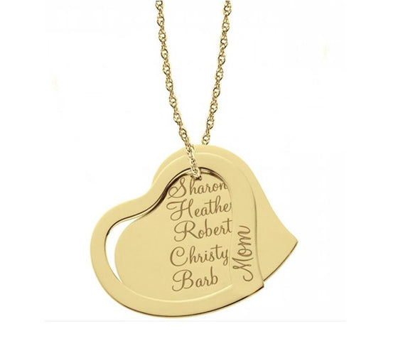 Engraved Mothers Double Heart Necklace