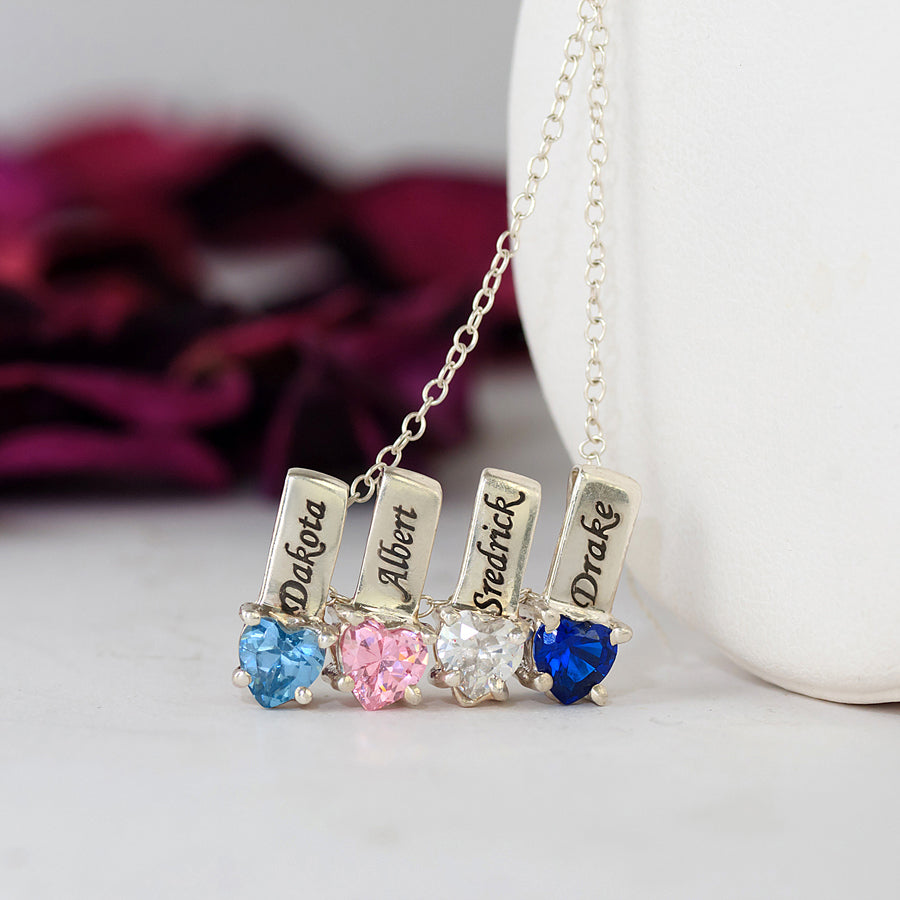 Personalized Mothers Necklace - Names and Birthstones 4