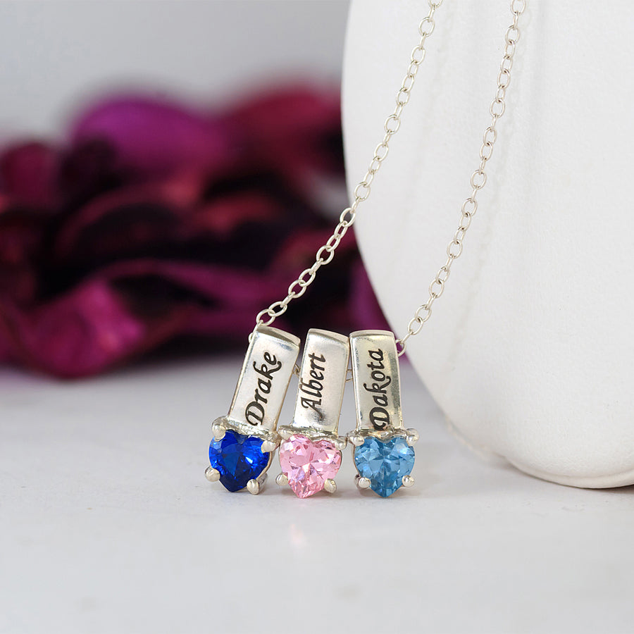 Personalized Mothers Necklace - Names and Birthstones