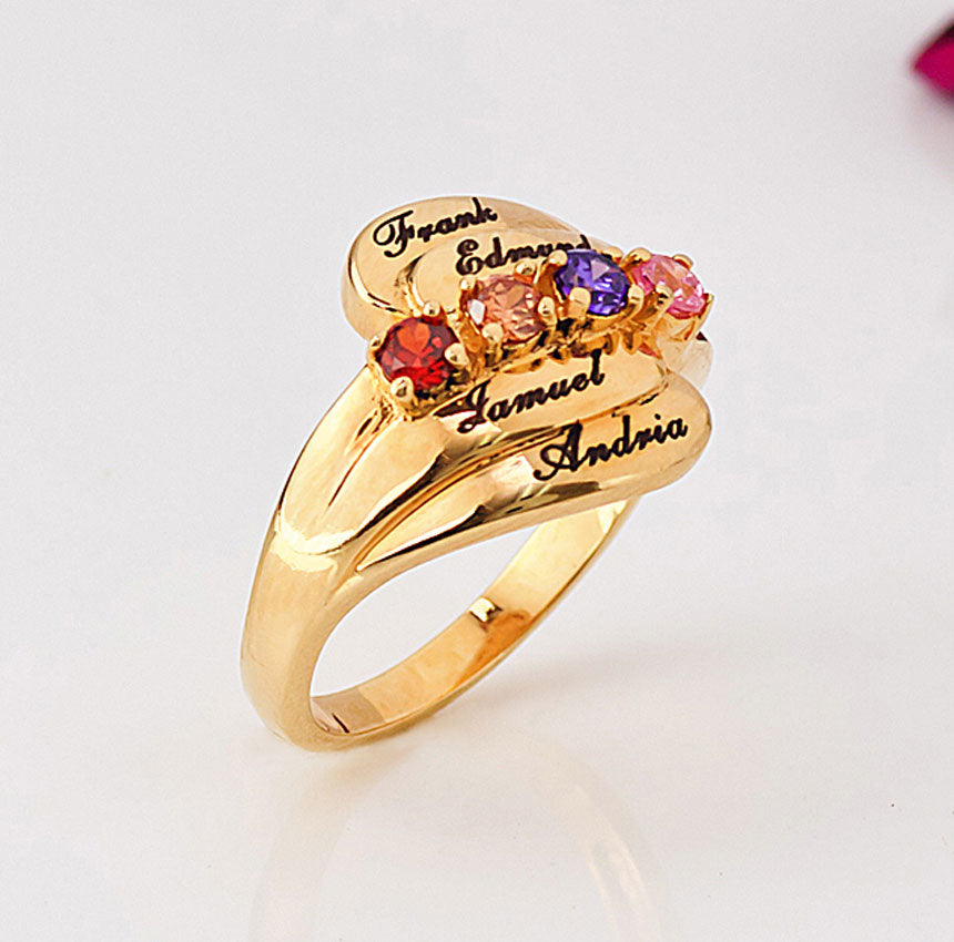 Personalized Mothers Ring with Birthstones 2