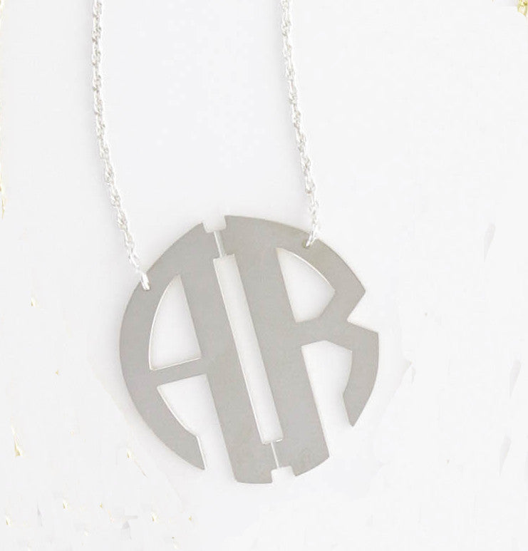 Sterling Silver Two Initial Circle Filigree Monogram Necklace Alternate 2