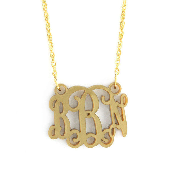 Petite Script Acrylic Monogram Necklace - gold filled chain