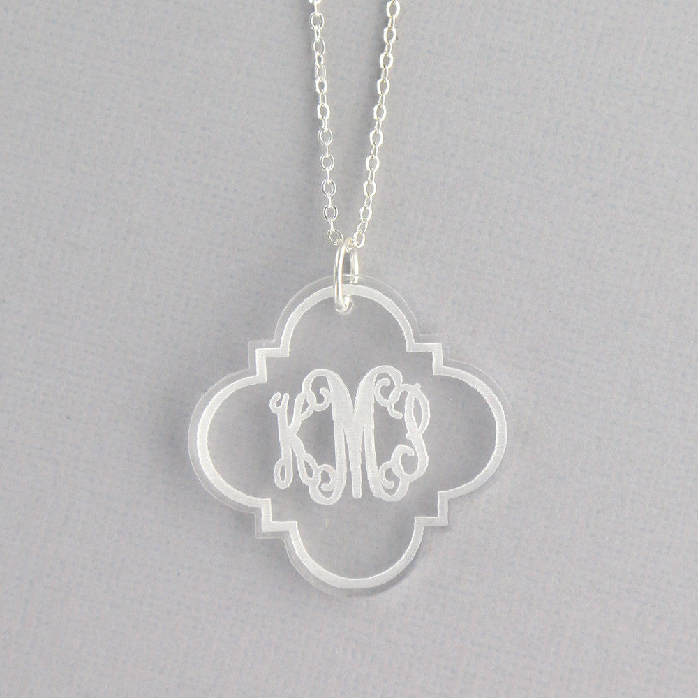 Quatrefoil Clear Acrylic Monogram Disc Necklace