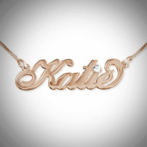 Personalized Nameplate Necklace - Swarovski Crystal 2