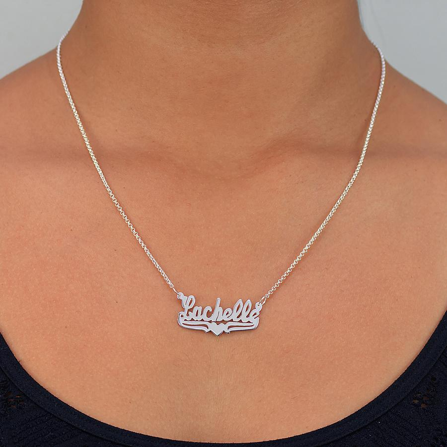 Personalized Nameplate Necklace - Lower Tails and Heart 3