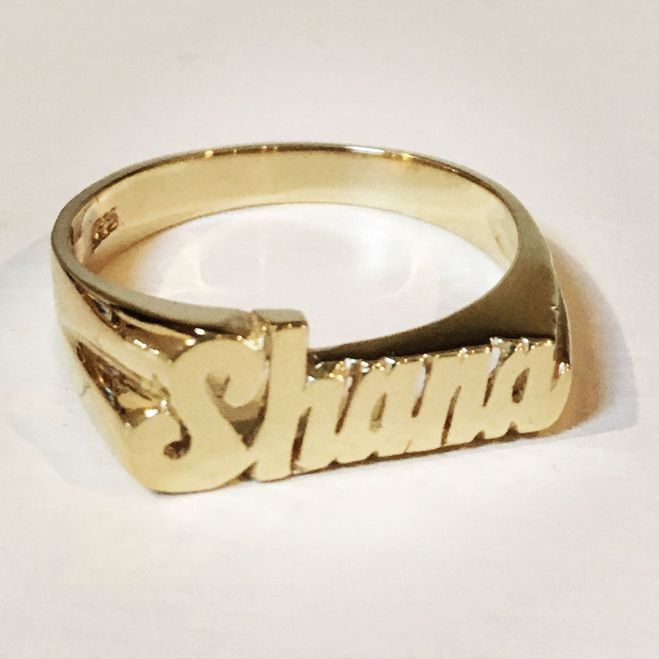 Small Gold Script Name Ring 2
