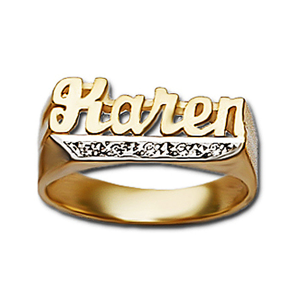 Name Ring with Diamonds - 8mm