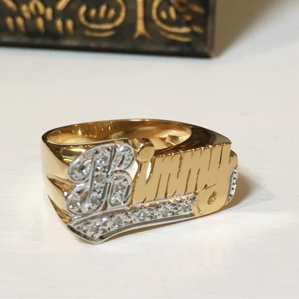 Gold Name Ring with Diamonds - 10mm 3