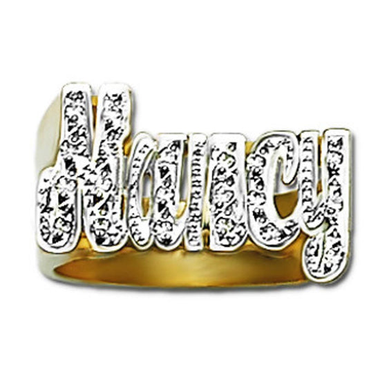 Gold Diamond Name Ring