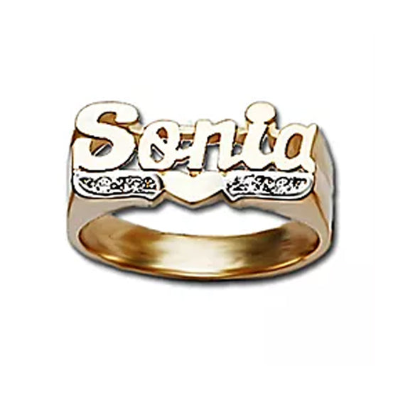 Name Ring with Heart and Diamonds - 8mm
