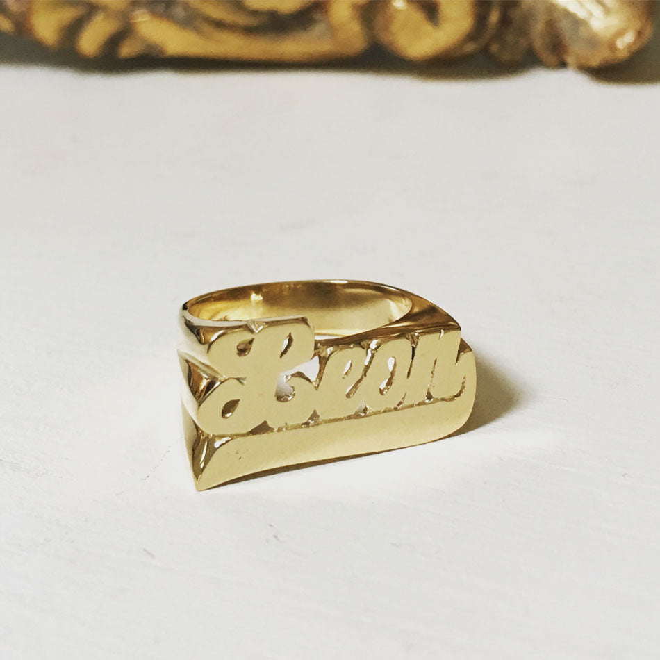 Gold Large Script Name Ring with Tail 11