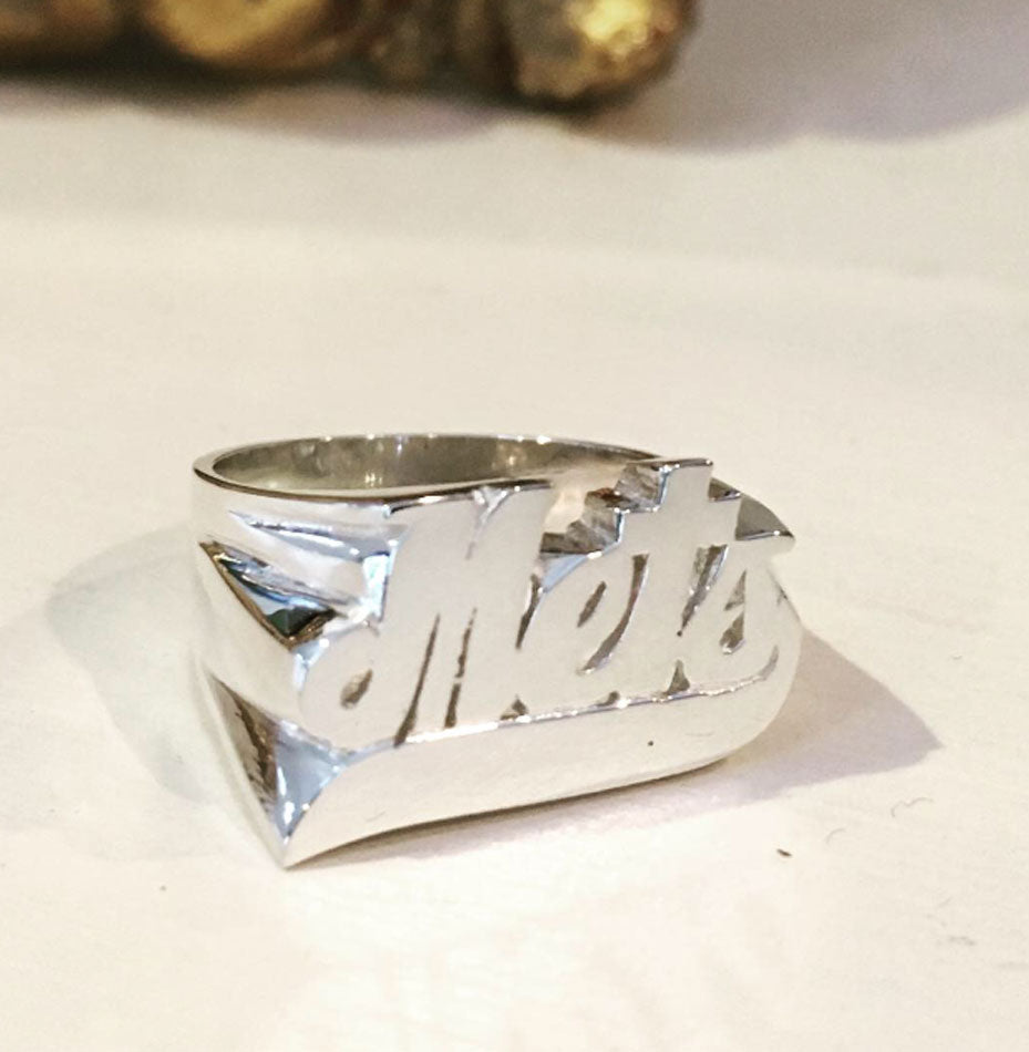 Sterling Silver Large Script Name Ring with Tail