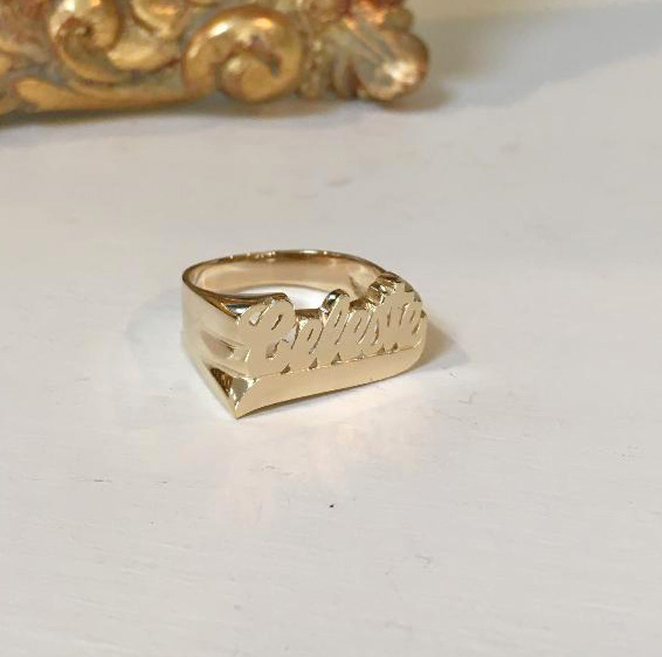 Gold Large Script Name Ring with Tail Celeste