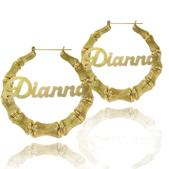 24K Gold Plated Large Bamboo Name Hoop Earrings