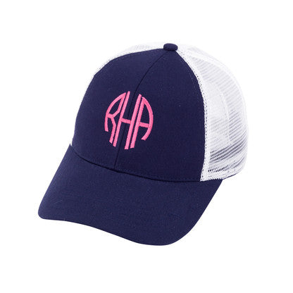 Monogram Trucker Hat - Navy