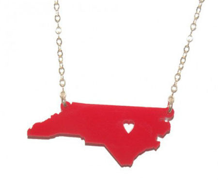 Acrylic State Necklace Moon And Lola  North Carolina