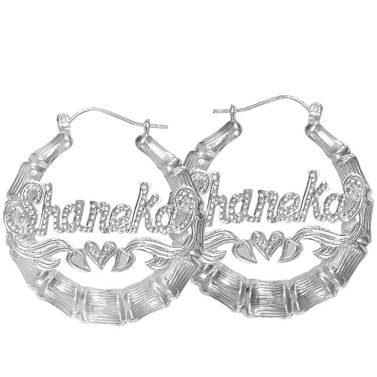 silver bamboo name earrings