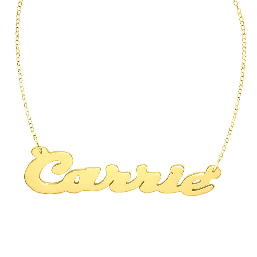 Gold Script Nameplate Necklace
