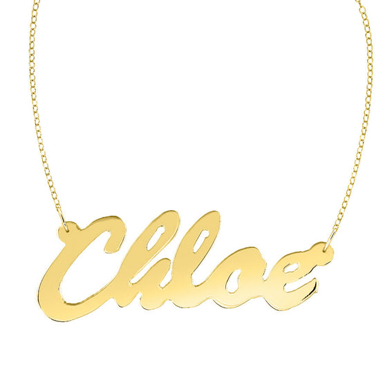 Gold Cursive Nameplate Necklace Lea Michele