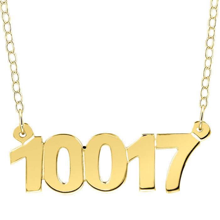 Gold Personalized Zip Code Necklace