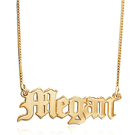10K Solid Gold Gothic Name Necklace