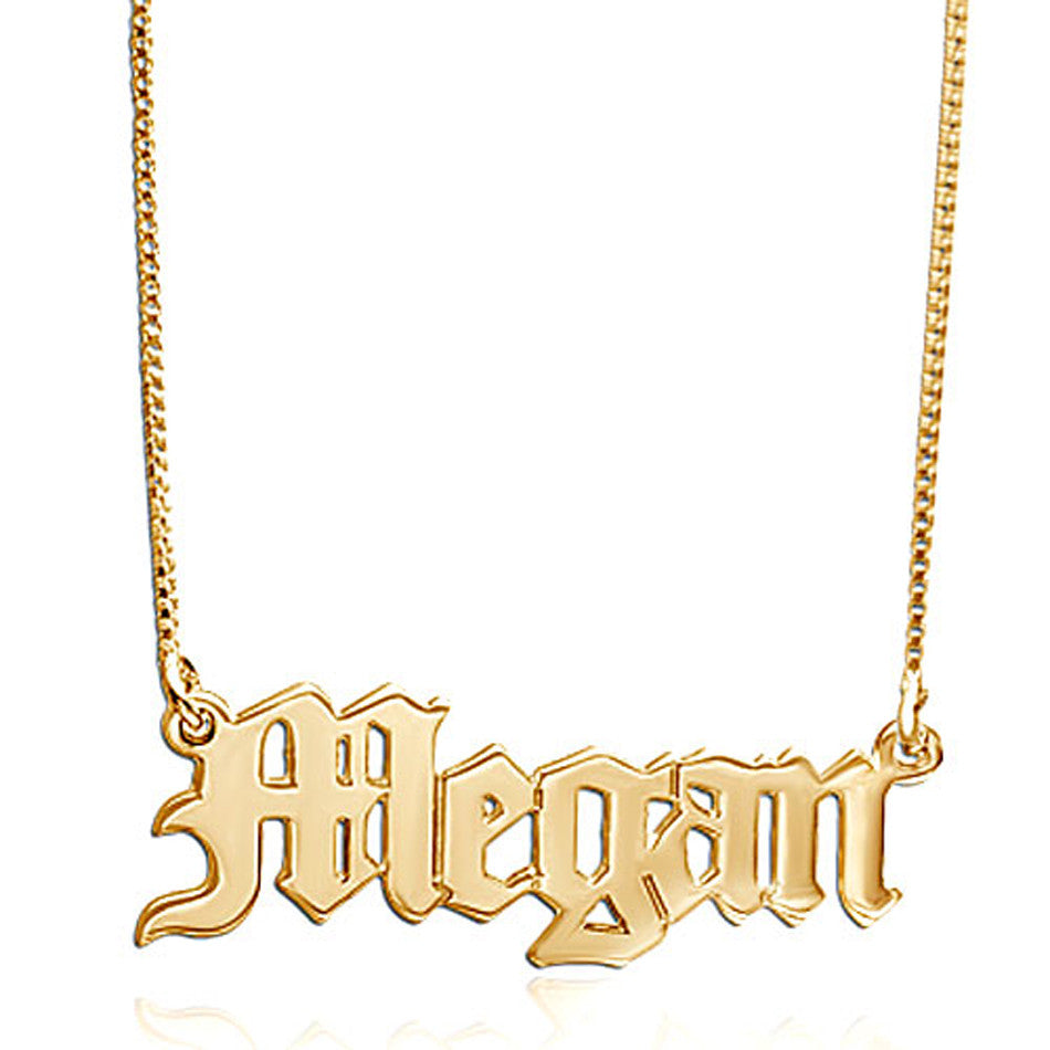 14K Solid Gold Gothic Name Necklace