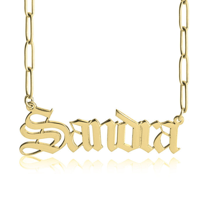 old english name necklace paper clip chain