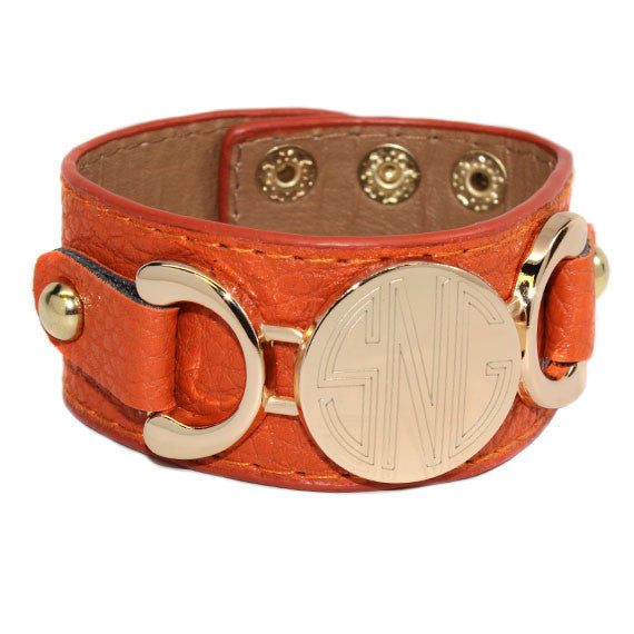 monogram leather cuff bracelet orange