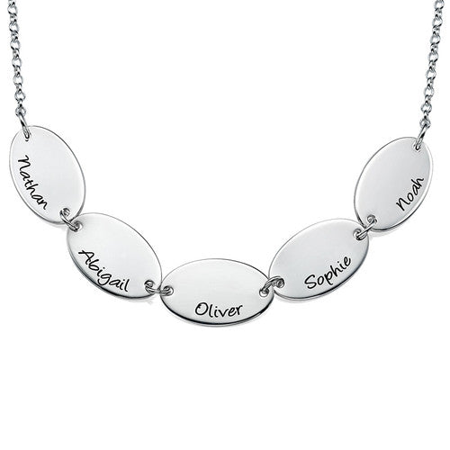 Engraved Oval Disc Mothers Necklace - 3 to 5 discs