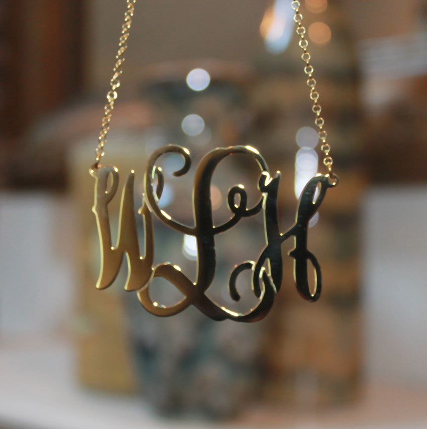 2 inch oval vine script monogram necklace