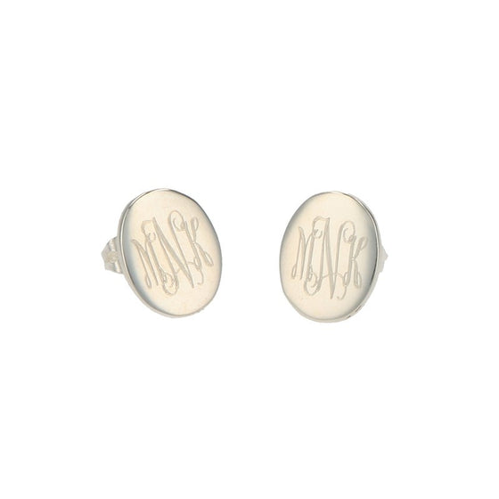 Monogrammed Sterling Silver Oval Stud Earrings 2