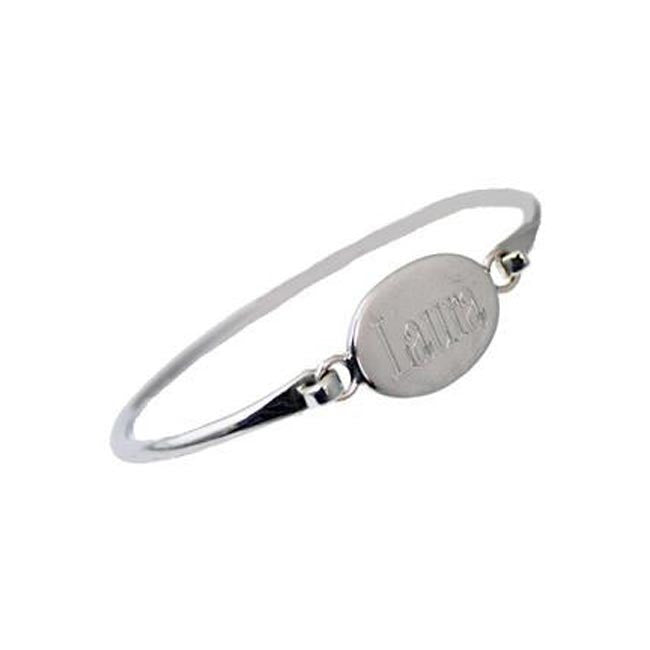 Sterling Silver Oval Monogram Bangle Bracelet