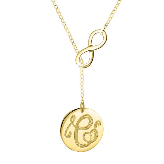 Infinity Initial Lariat Necklace