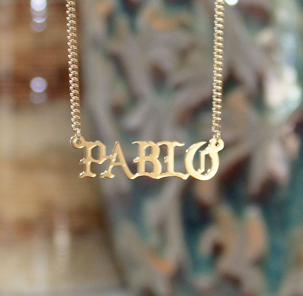 10k Gold Personalized Name Pendant Necklace Old English Font Monogrammed Jewelry