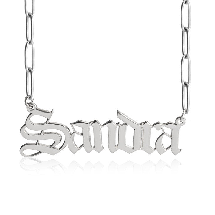 paper clip chain gothic name necklace