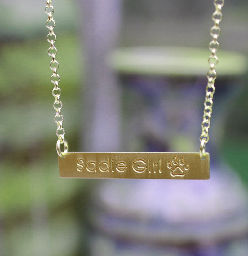 gold bar necklace paw print - medium, satin finish