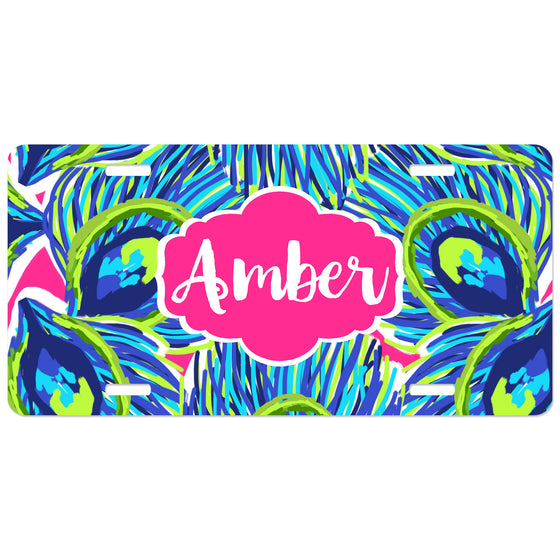 Personalized Car Tag License Plate - Peacock