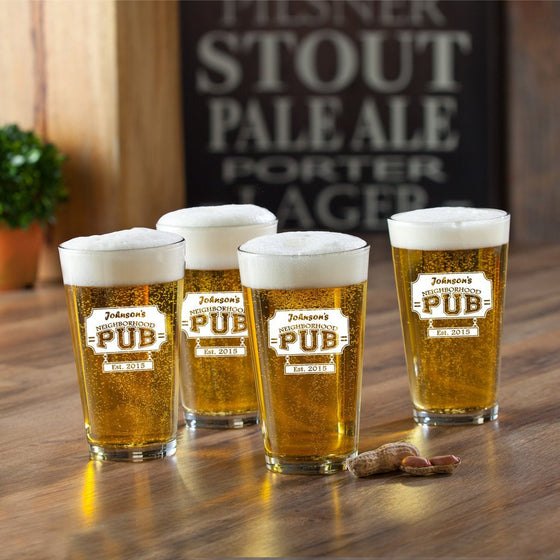 Personalized Pub Beer Glass Set - Neighborhood Pub