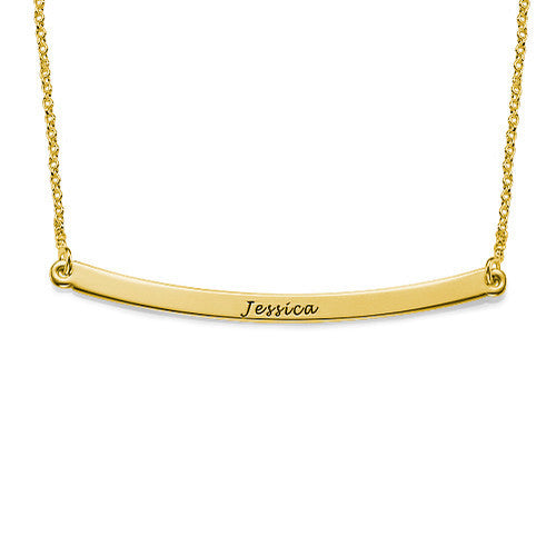 Personalized Engraved Gold Bar Necklace