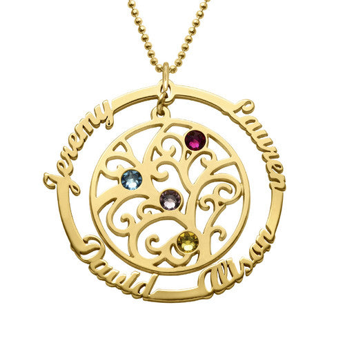 Personalized Family Tree Mothers Necklace-Names and Birthstones