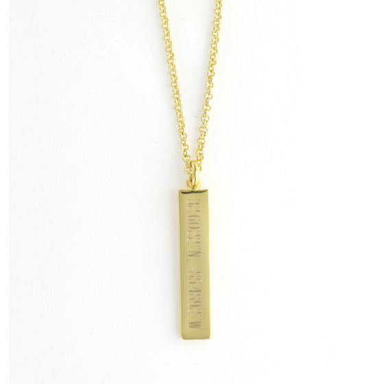 Personalized Gold Vertical Bar Necklace - Clare Crawley