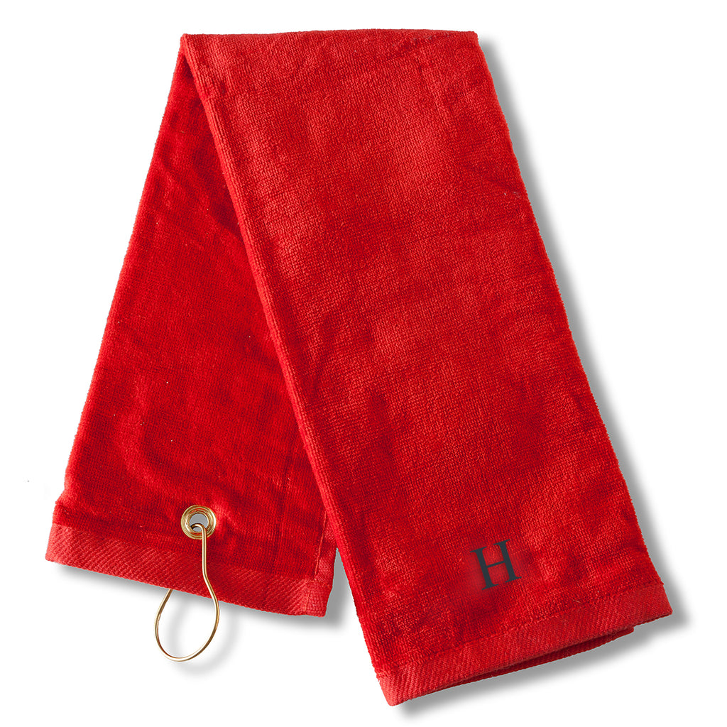 Monogrammed Sports Golf Towel red