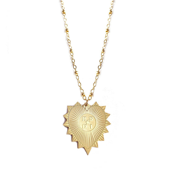 Personalized Heart Medallion Initial Necklace