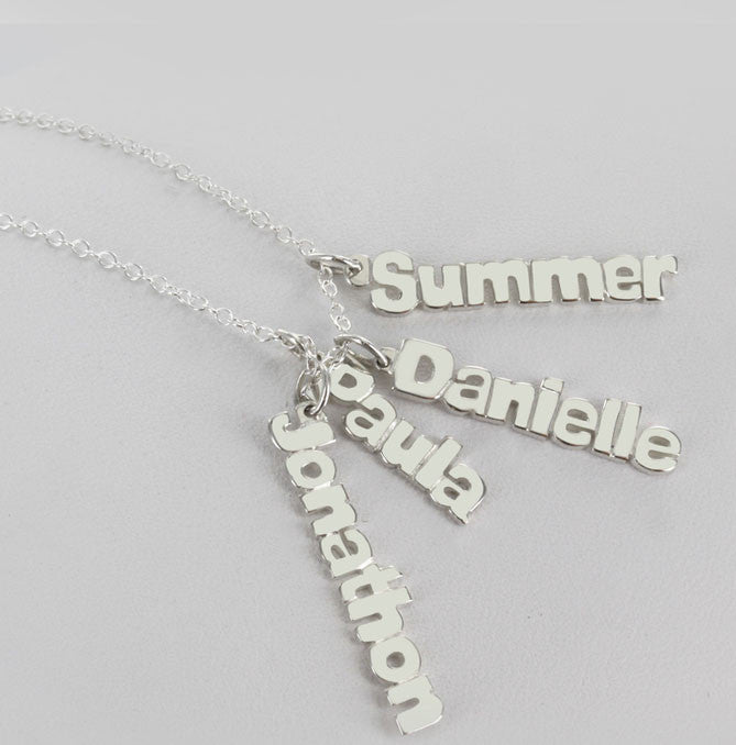 Vertical Mini Nameplate Necklace Alternate 1