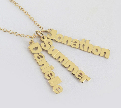 Vertical Mini Nameplate Necklace